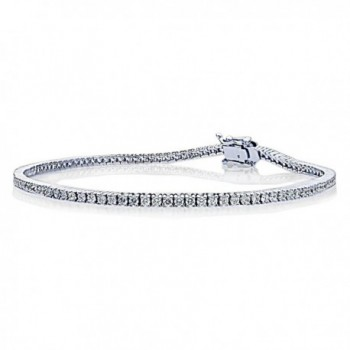 Sterling Silver 1.5mm 1.5 ct.tw Round CZ Prong Set Tennis Bracelet- 7.25 Inch - CD1217WW3XN