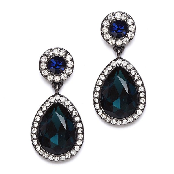 2b82200d8 Mariell Pear-Shaped Dark Teal & Navy Blue Crystal Teardrop Earrings for Prom-  Bridesmaids