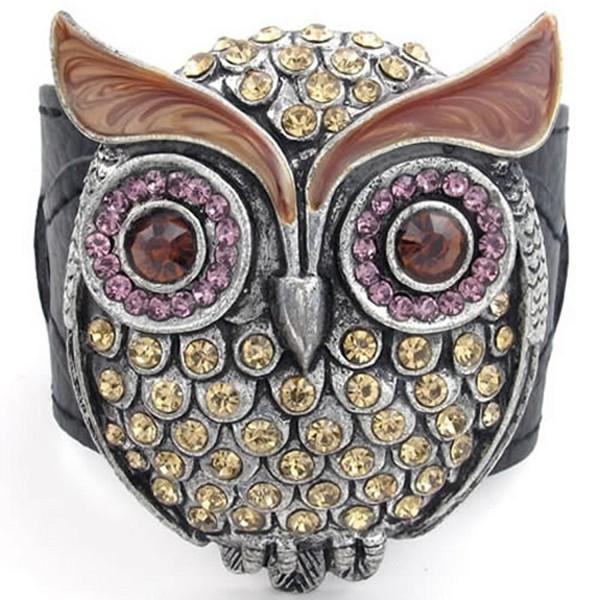 KONOV Womens Crystal Leather Bracelet- OWL Cuff Bangle- Brown Purple Black - C411JP2HWU7