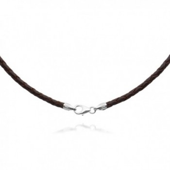 "3mm Brown Braided Leather Cord Necklace Choker with Solid 925 Sterling Silver Clasp 24"" - CF115GI55XZ"