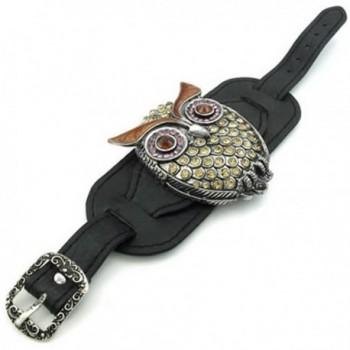 KONOV Womens Crystal Leather Bracelet in Women's Cuff Bracelets