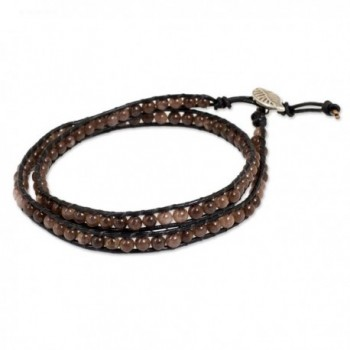 NOVICA Quartz Leather Bracelet Silver