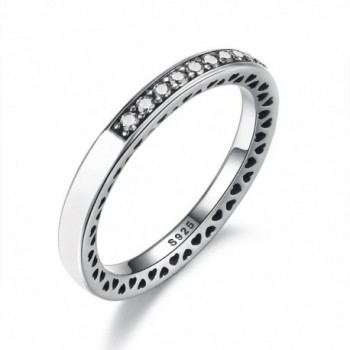 BAMOER 925 Sterling Silver Enamel Eternity Ring for Women Teen Girls Stack Ring - CV17XWIH3E8