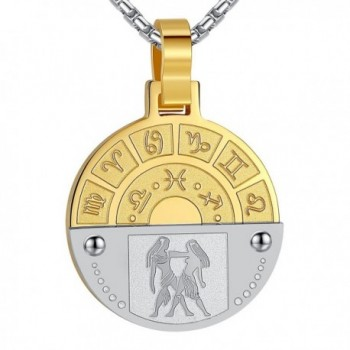 """Aoiy Stainless Steel Zodiac Horoscope Sign Pendant Necklace- Unisex- 21"""" Chain - Gemini Gold-Silver-Color - CF12H34CV3V"""