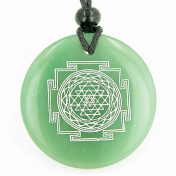 Sri Yantra Chakra Talisman Green Quartz Magic Pendant Necklace - C3114RNJJZP