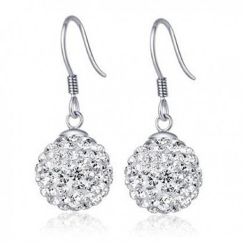 Chaomingzhen Sterling Silver Crystal Ball Dangle Earring for Women - CW11BCNOMP5