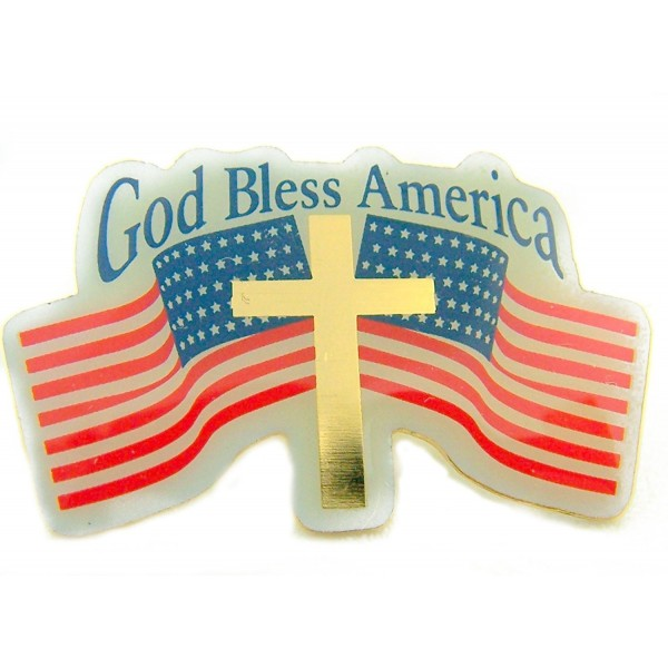 Carded God Bless USA Two American Flags Cross Patriotic Lapel Pin - CD11012H0BL