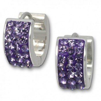 Amello stainless steel creole -Hinged Snape- with purple zirconia- original Amello ESOS01V - CD11EW711H5