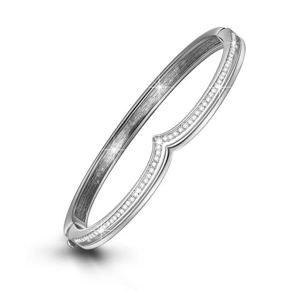 "LadyColour ""Tresor"" Rhodium Plated Crown Bangle Bracelets 7"" Push-Button Closure- Crystals from Swarovski - CV12CEH3ELP"