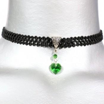 Twilight's Fancy Moss Green Swarovski Crystal Heart Pendant Choker Necklace - CZ11T4BKXRD