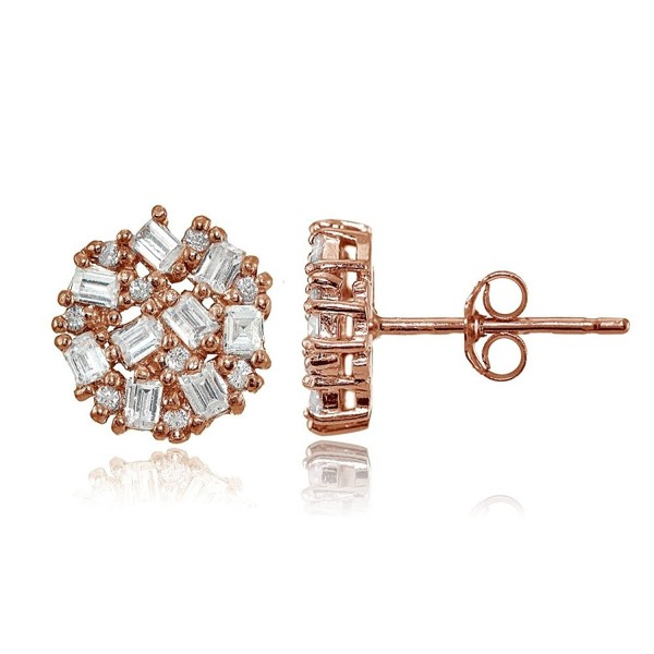 Sterling Silver Baguette and Round-Cut Cubic Zirconia Cluster Round Stud Earrings - Rose Gold Flash - Clear CZ - CR17Z4HZR5S