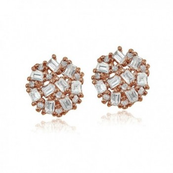 Sterling Baguette Round Cut Zirconia Earrings