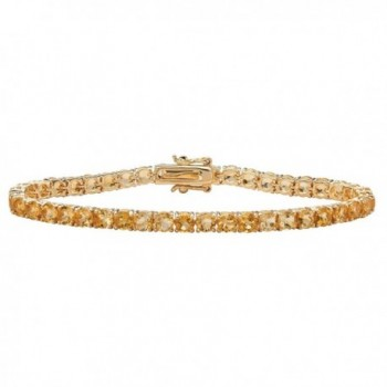 "Round Genuine Yellow Citrine 18k Yellow Gold-Plated Tennis Bracelet 7.25"" - C8183QTD4U0"
