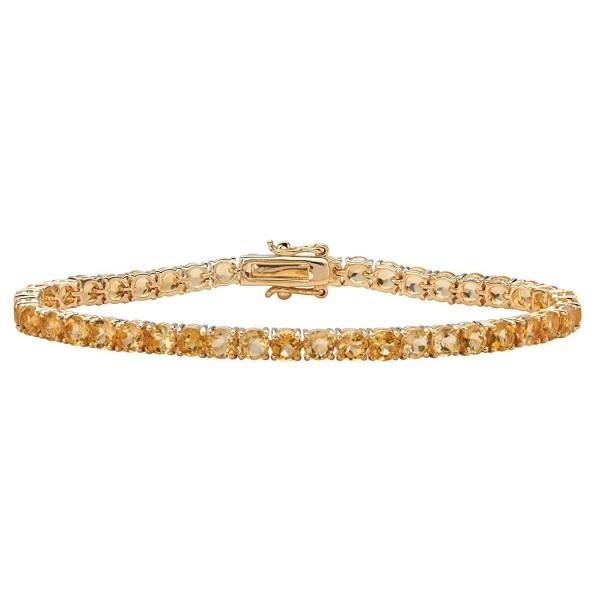 "Round Genuine Yellow Citrine 18k Yellow Gold-Plated Tennis Bracelet 7.25"" - C8183QTD4U0"