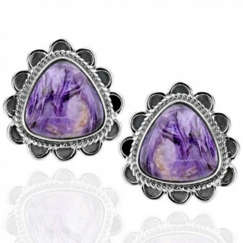 Sterling Silver Triangular Charoite Antique Finish Stud Earrings - CE12FZK37XD