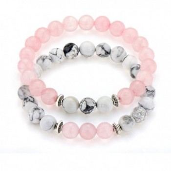 "POSHFEEL Long Distance Couples Bracelets 8mm Howlite & Natural Stone Beads 2 Pieces- 7.5"" - Pink - CT1836D8ZSG"