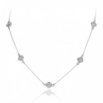 Sterling Silver Polished Love Knot Flower Station Chain Necklace - C412OE53M1A