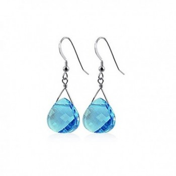 Gem Avenue 925 Sterling Silver Made with Swarovski Elements Blue Crystal Handmade Drop Earrings - CI111XRE4FX