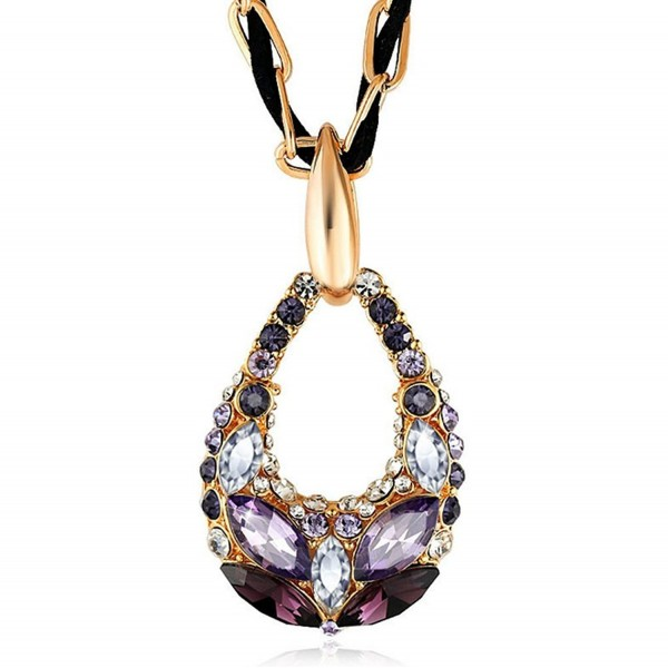 The Starry Night Dream Color Drop Style Romantic Crystal Cut Diamond Accented Women Necklace - C1120AK1JZF