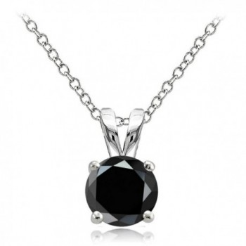 Hoops & Loops Sterling Silver Black Cubic Zirconia Round Solitaire Necklace - C312I5699FT