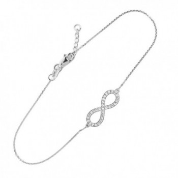 925 Sterling Silver Clear CZ Infinity Pendant Bracelet (7.50 to 8.00 inches) - C811G5JNC1V