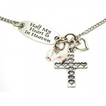 ChubbyChicoCharms Half My Heart Is In Heaven Lariat Style With White Crystal - CO127ZDR2GB