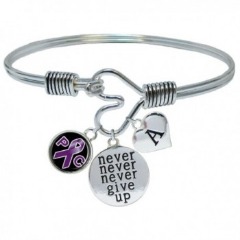 Custom Pancreatic Cancer Awareness Never Give Up Bracelet Choose Initial - C5185WD9K78