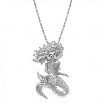 "Sterling Silver Diamond Cut Mermaid Necklace Pendant with 18"" Box Chain - CQ119DRYJ4L"
