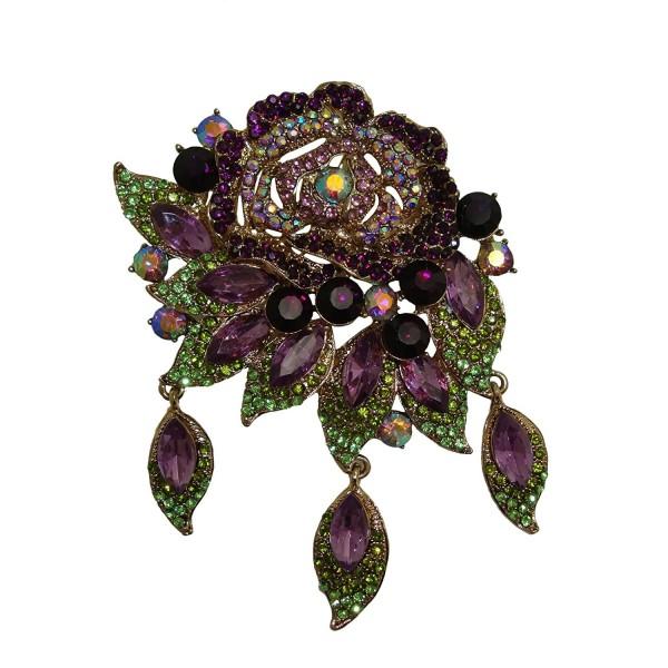 "TTjewelry 3.94"" Vintage Style Art Deco Flower Rose Brooch Pin Pendant Rhinestone Crystal - Purple - CT124V0KZ6P"