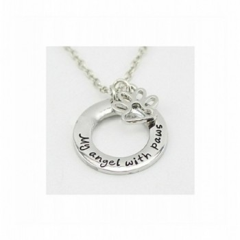 My Angel with Paws Pet Memorial Silver Necklace Dog Cat Paw Print - CX12F68AQ0F