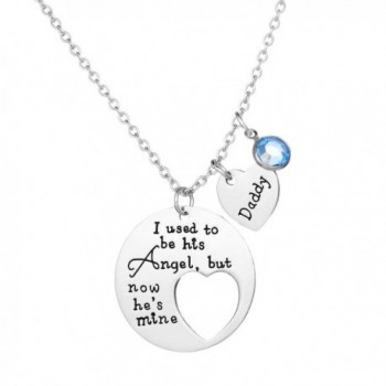 Memorial Necklace I Used To Be His Angel Now He's Mine Daddy Pendant Necklace Gift for Dad - Blue Crystal - CU185GU5WZE