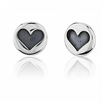 925 Sterling Silver Small Round Stamped Heart Stud Earrings - C311LSHOYOT