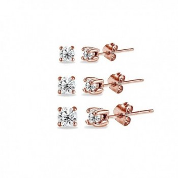 5 Pair Set Rose Gold Flashed Sterling Silver Cubic Zirconia Round Stud Earrings- Choice of Sets - 3-Pairs 3-5mm - CY186ONNS86