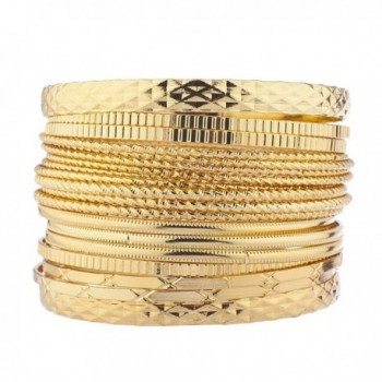 Lux Accessories Women's Multi Bangle Bracelet Set - Goldtone Mixed Textured Multi Bangle - C217Y0HZ64L