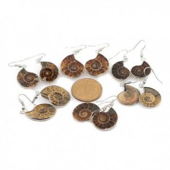 Justinstones Natural Ammonite Fossil Earrings in Women's Drop & Dangle Earrings