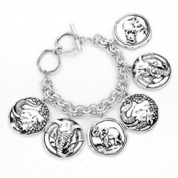 Women Fashion Silver Burnished Elephant Linked Coin Charm Bracelet - C312DU6HFZZ