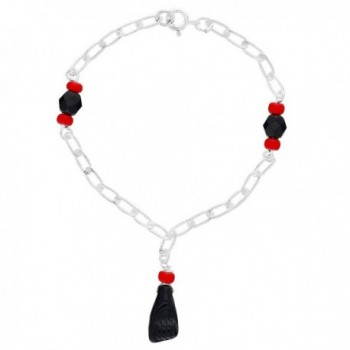 """Silver Plated Figa Hand Evil Eye Protection Simulated Azabache Womens Bracelet 7"""" - C612CLY9T8D"""