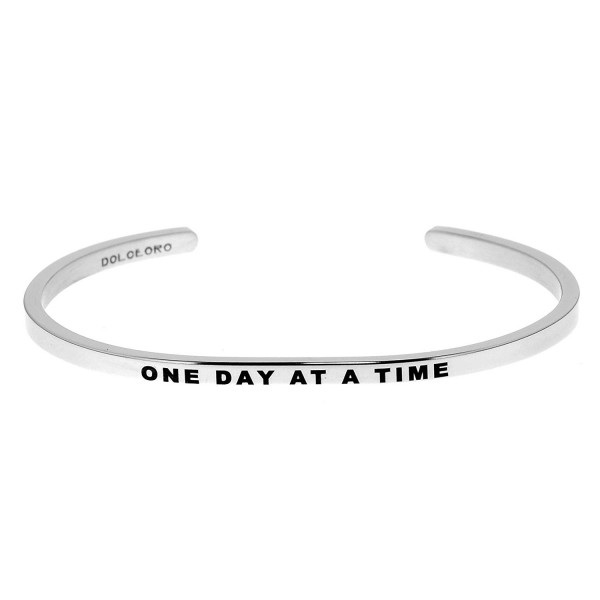 Mantra Phrase: ONE DAY AT A TIME - 316L Surgical Steel Cuff Band - CD12N8P5U1X