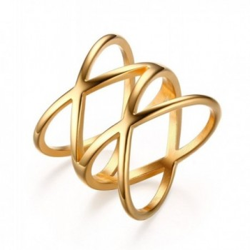 """Stainless Steel Gold Plated Double""""X"""" Criss Cross Statement Ring for Women - CX12DT0JFPP"""