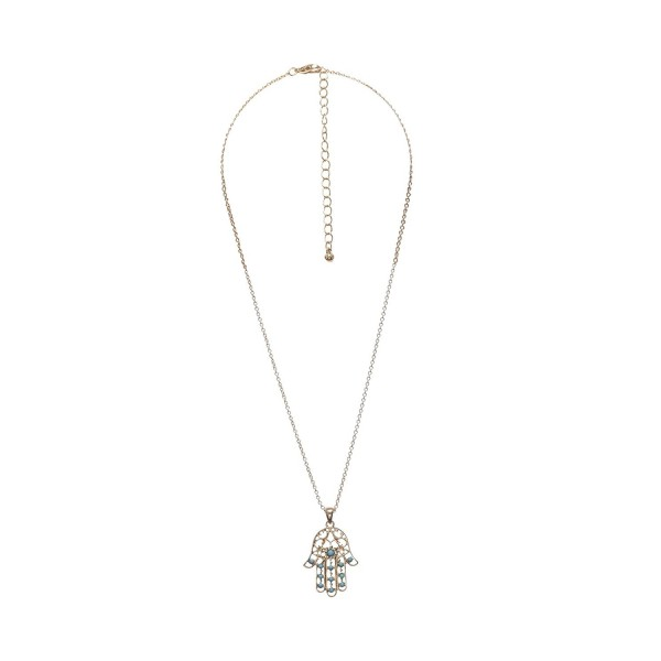Delicate Hamsa turquoise Goldtone Necklace - Turquoise HAMSA NECKLACE - C211Y58RT4Z