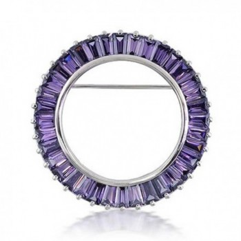 Bling Jewelry 925 Silver Baguette CZ Simulated Amethyst Circle of Life Pin - C211616VCLZ