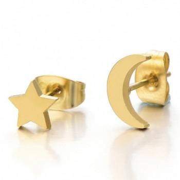 Pair Gold Color Moon and Star Stainless Steel Plain Stud Earrings for Women and Girls - CF12D390VZP