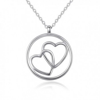 925 Sterling Silver Women Love Heart Circle Pendant Necklace Jewelry Gift - White Gold - CW1882CXTGX
