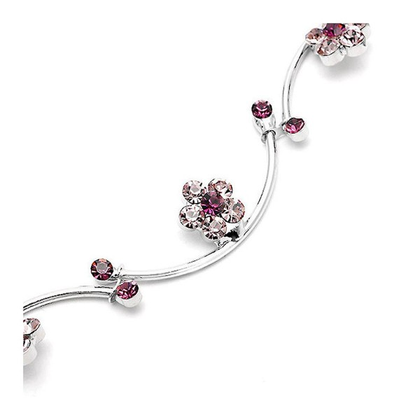 Glamorousky Flower and Wave Bracelet with Purple Austrian Element Crystals (1035) - CH118SOBO3J
