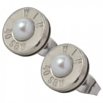 Little Black Gun Thin Nickel Plated 40 S&W Bullet Shell Crystal Stud Earrings in Frost - CW12N2T1IRR