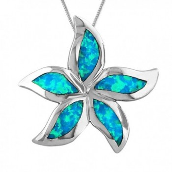 "Sterling Silver Synthetic Blue Opal 1 Inch Starfish/Plumeria Pendant Necklace- 16+2"" Extender - CX113ZSP5CJ"