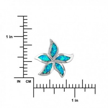Sterling Silver Synthetic Starfish Plumeria in Women's Pendants