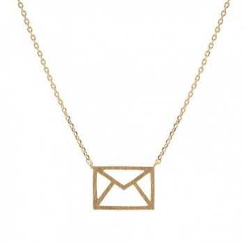 chelseachicNYC Handcrafted Brushed Metal Cut Out Envelope Necklace - CX128HNPWBZ