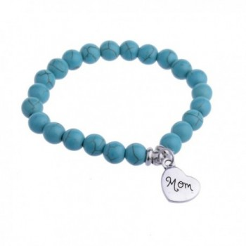 Personalized Pendant Heart Mom Charm Turquoise Beads Bracelet Gift for Mother - CO17YK2GCMG