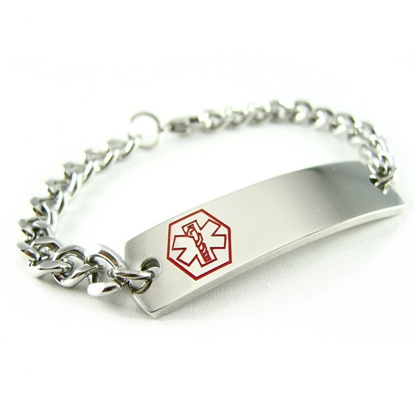 MyIDDr - Pre-Engraved & Customizable Warfarin Medical Alert ID Bracelet- Curb Chain - CK114KW82ID